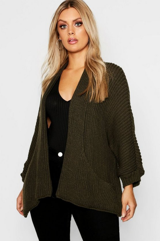 Plus Pocket Detail Oversized Cardigan