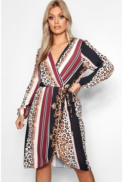 Womens Black Plus Chain Mixed Print Wrap Midi Dress