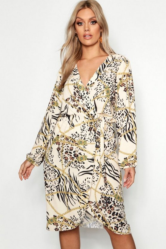 Womens Cream Plus Leopard Chain Wrap Front Dress