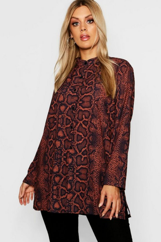 Womens Brown Plus Snakeskin Woven Oversized Shirt