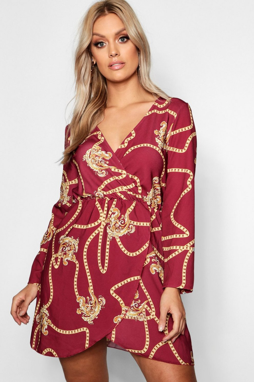 3e17f1323b86 Plus Chain Printed Wrap Dress | Boohoo
