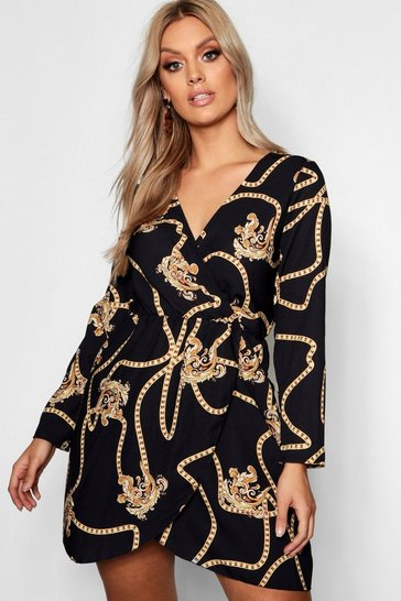 Black Plus Chain Printed Wrap Dress