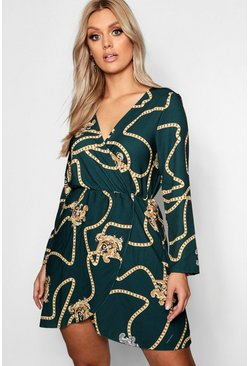 Womens Green Plus Chain Printed Wrap Dress