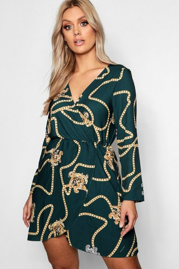 Green Plus Chain Printed Wrap Dress