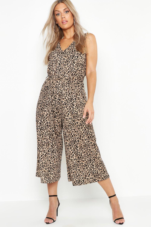 Plus Leopard Printed Culotte Jumpsuit