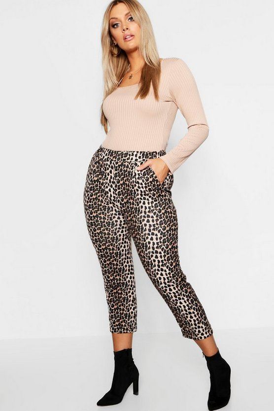 Plus eng anliegende Hosen in Leopardenmuster, Braun, Damen