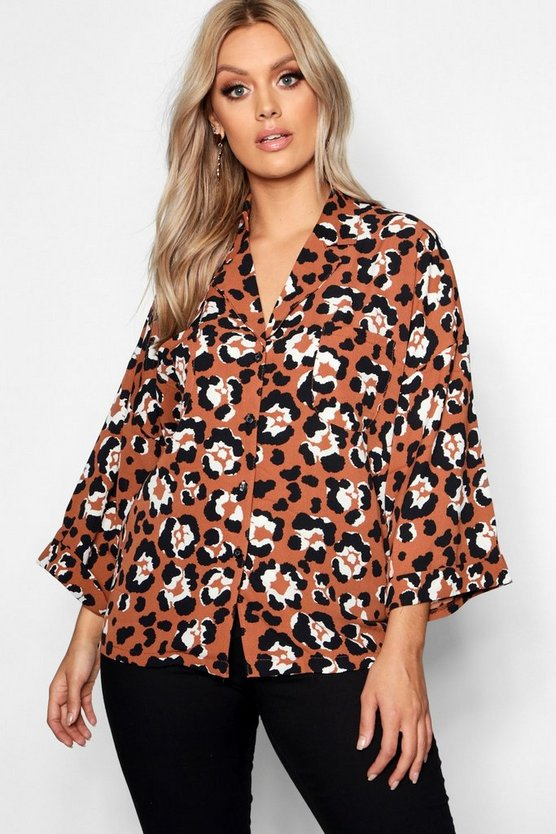Womens Tan Plus Leopard Reverse Collar Shirt