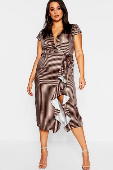 Womens Tan Plus Striped Ruffle Dress