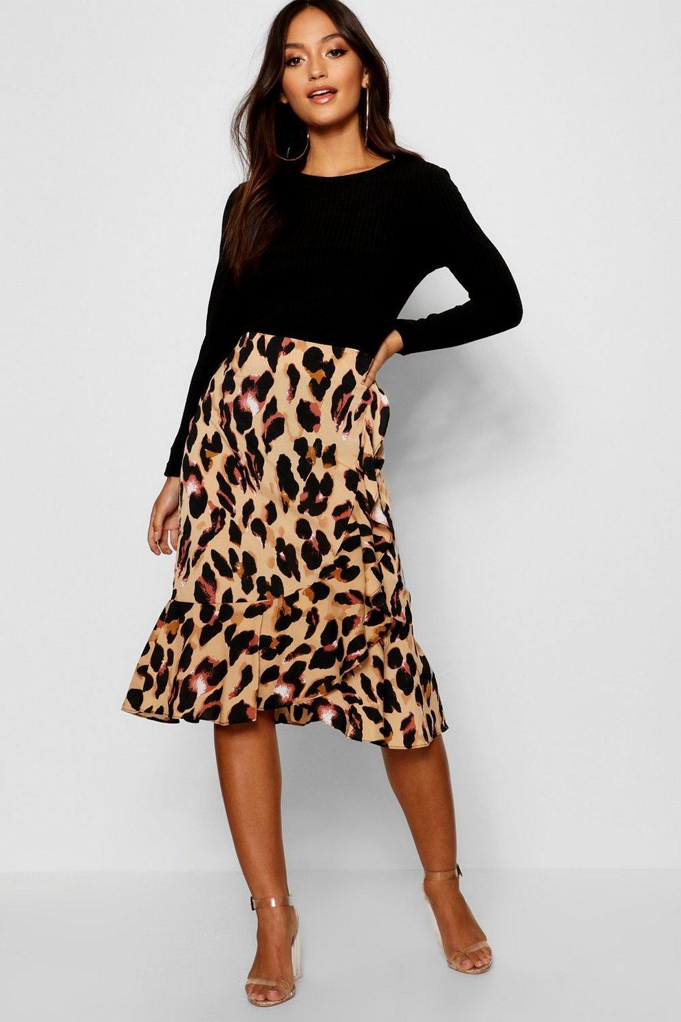 282dce09aa Petite Leopard Print Asymmetric Ruffle Satin Midi Skirt | Boohoo
