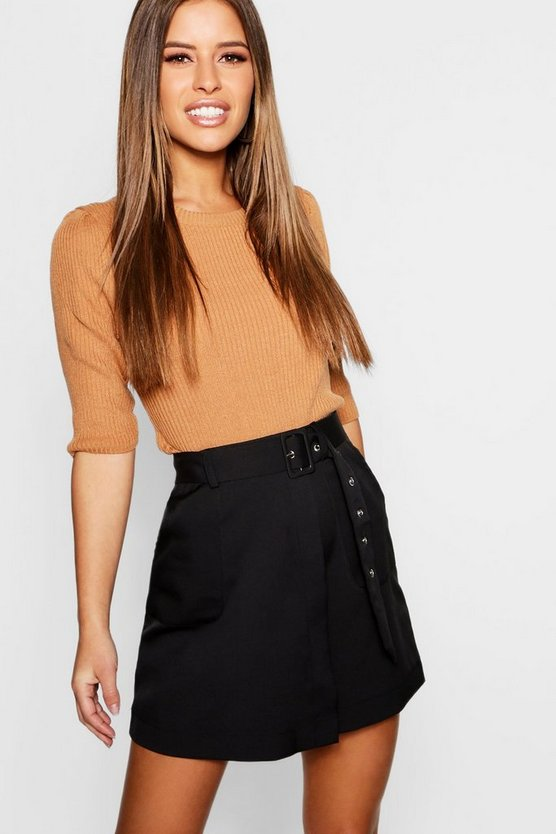 Petite Self Belt Mini Skirt