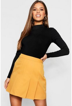 Womens Mustard Petite Pleated Tennis Skirt