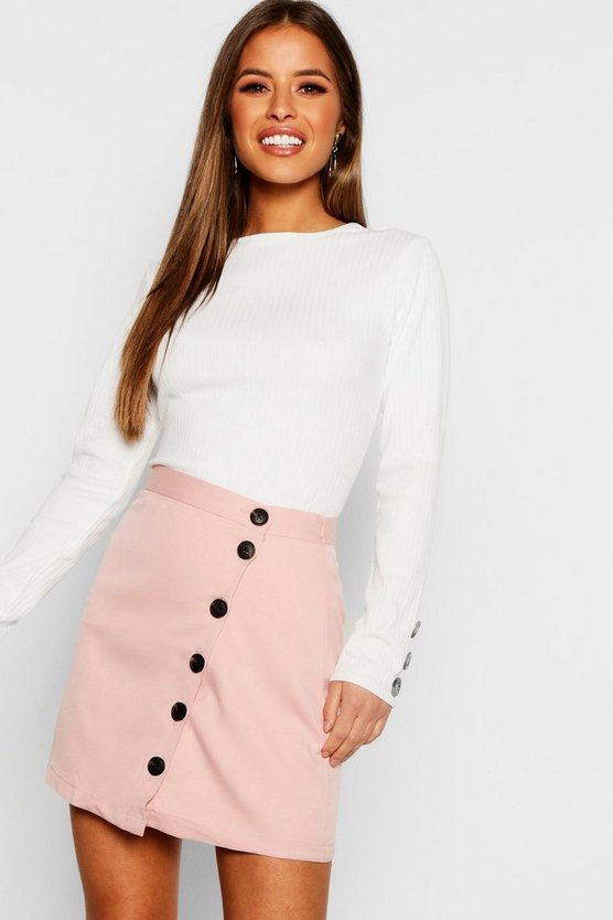 Petite Asymmetric Button Front Skirt