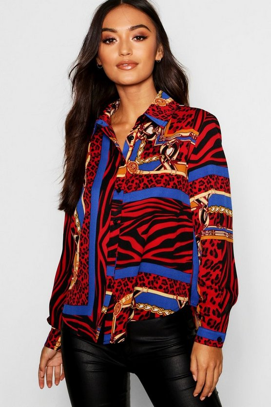 Womens Red Petite Animal Chain Print Oversized Shirt