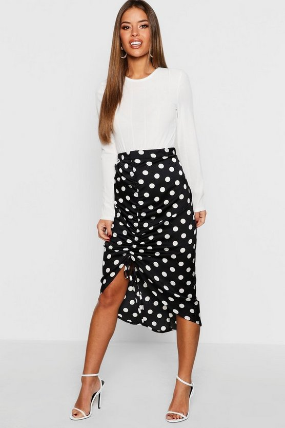 Womens Black Petite Satin Ruched Polka Dot Skirt