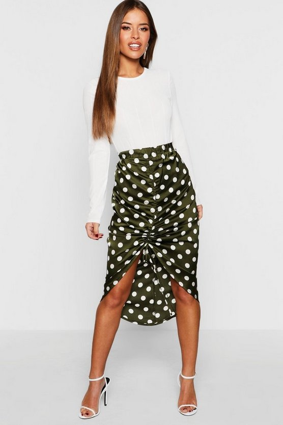 Petite Satin Ruched Polka Dot Skirt