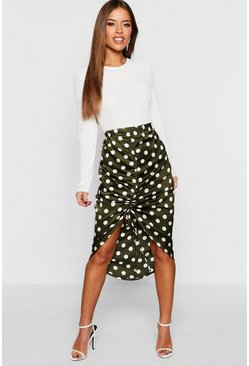 Womens Khaki Petite Satin Ruched Polka Dot Skirt