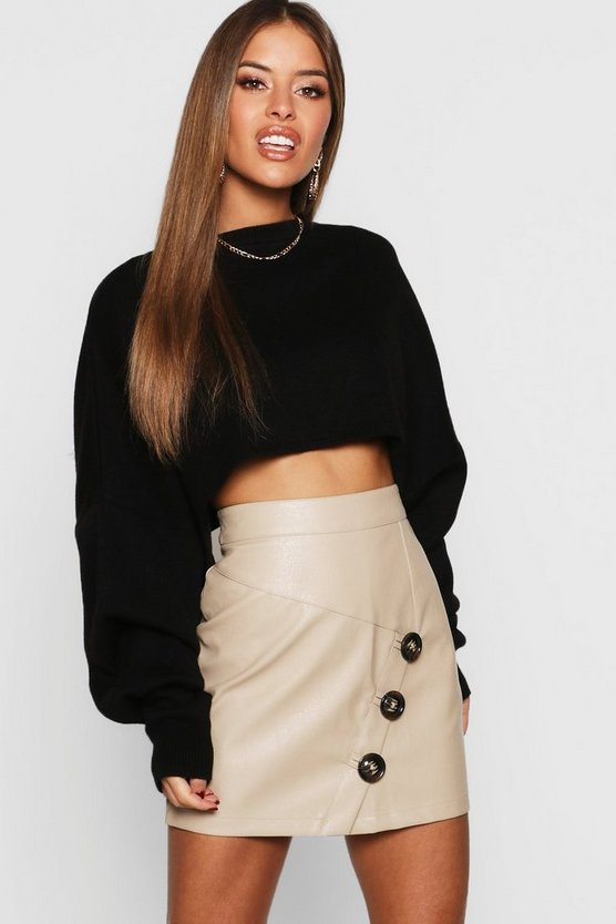 Petite Mock Horn Button Faux Leather Mini Skirt