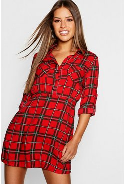 Womens Petite Checked Shirt Dress