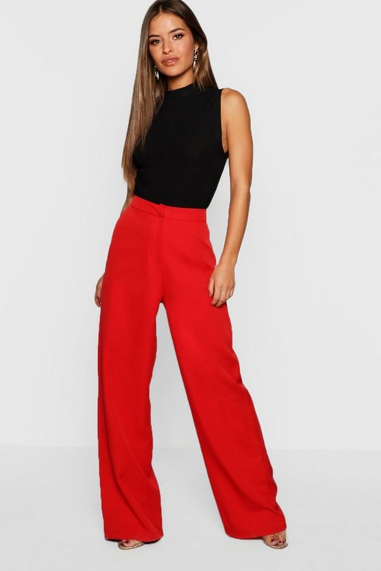Womens Red Petite Wide Leg Woven Pants