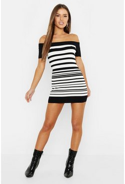 Womens Black Petite Bandage Stripe Dress