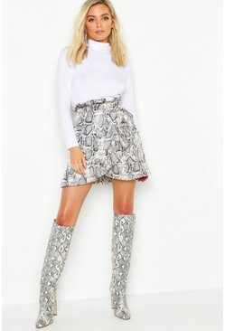 Womens Grey Petite Ruffle Wrap Snake Print Mini Skirt