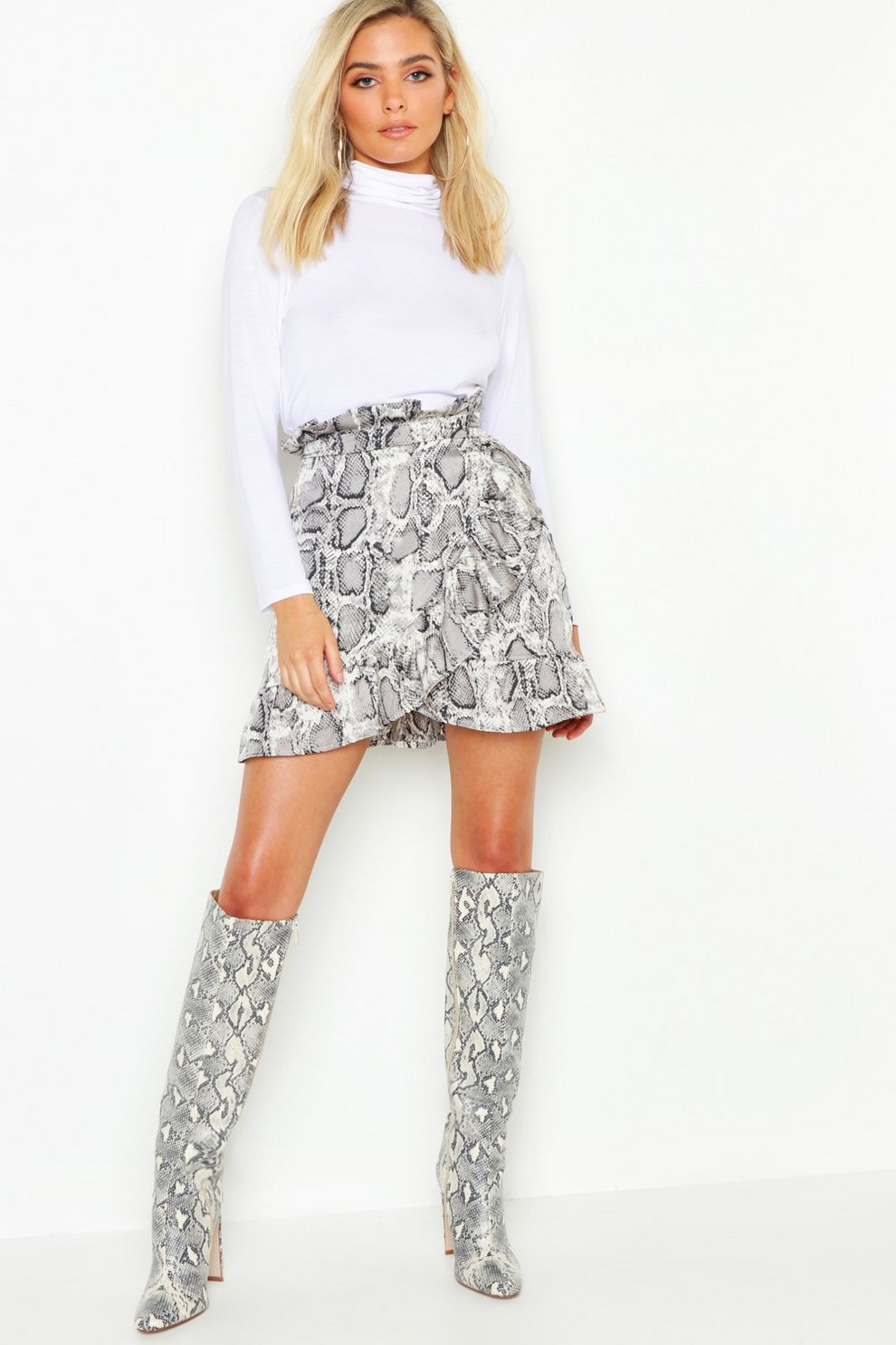 f627bc4231 Petite Ruffle Wrap Snake Print Mini Skirt   Boohoo
