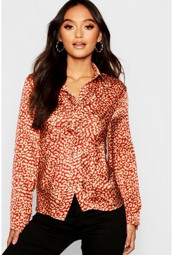 Womens Red Petite Twist Front Satin Shirt