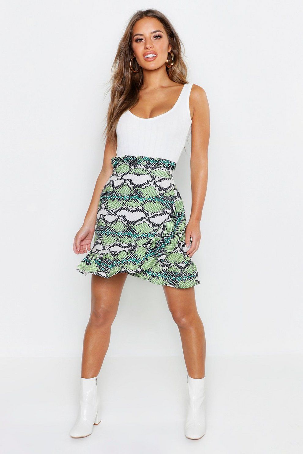 aa97cc9b86 Womens Green Petite Snake Print Ruffle Wrap Mini Skirt