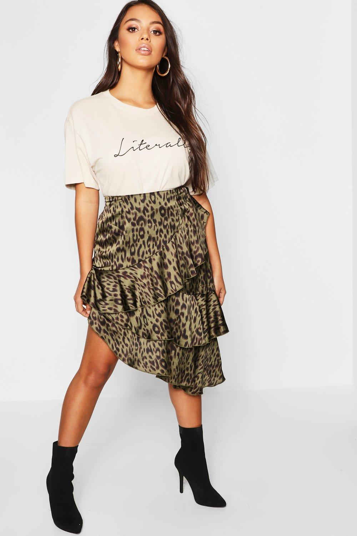 Petite Satin Leopard Print Ruffle Midi Skirt