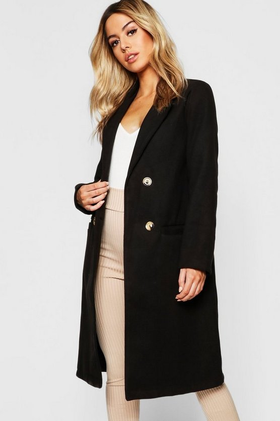 Petite Button Front Double Breasted Coat