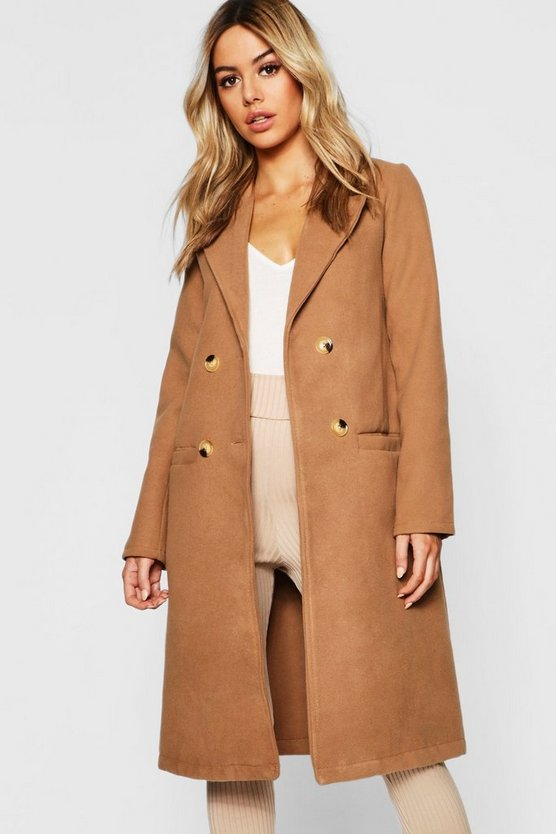 Womens Camel Petite Button Front Double Breasted Coat