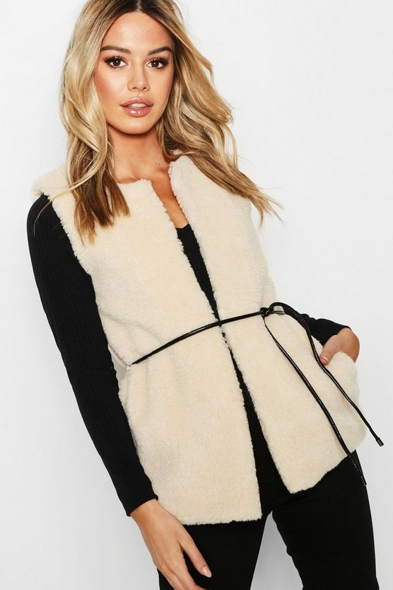 Womens Petite Belted Faux Fur Gilet