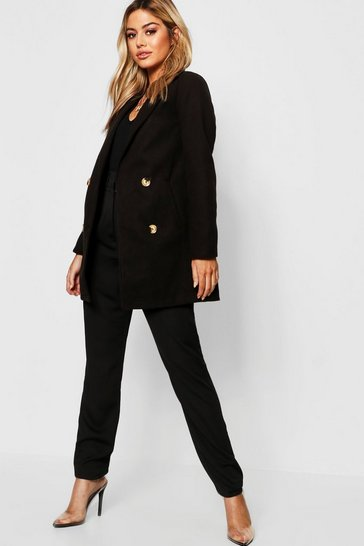 Womens Petite Collared Tailored Wool Look Coat