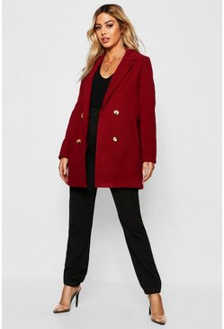 Womens Wine Petite Collared Tailored Wool Look Coat