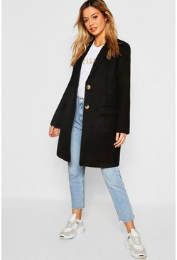 Womens Black Petite Boyfriend Coat