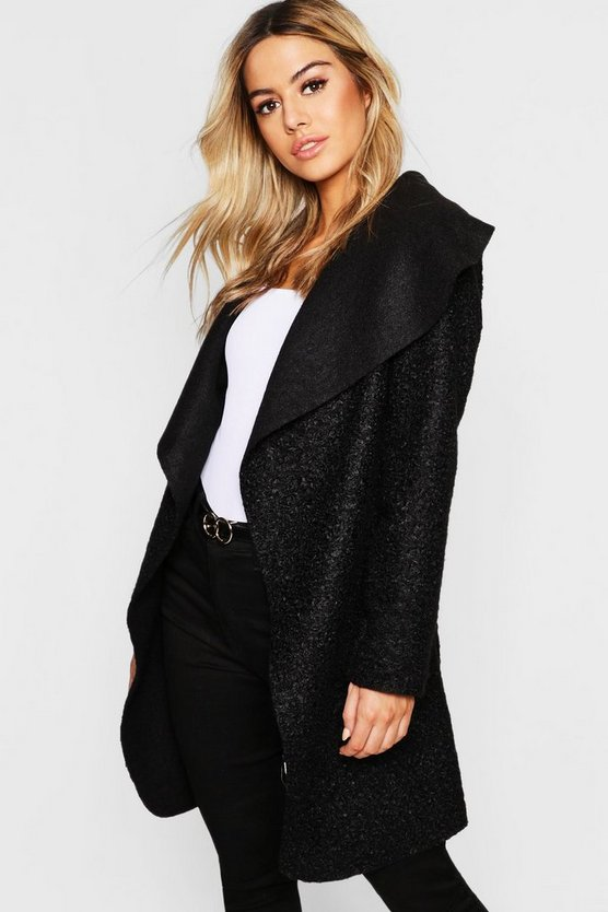 Womens Black Petite Belted Shawl Collar Teddy Coat