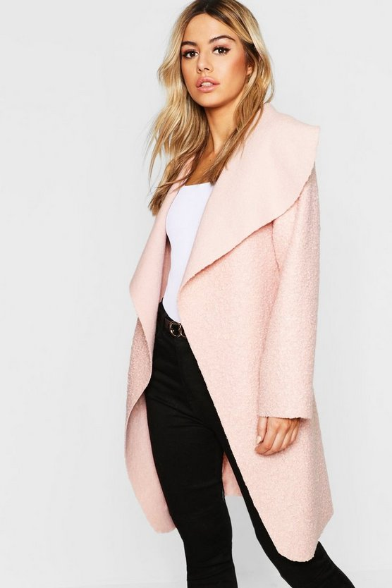 Petite Belted Shawl Collar Teddy Coat