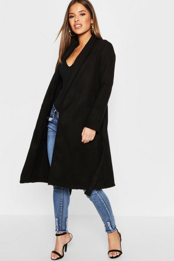 Black Petite Shawl Collar Belted Coat