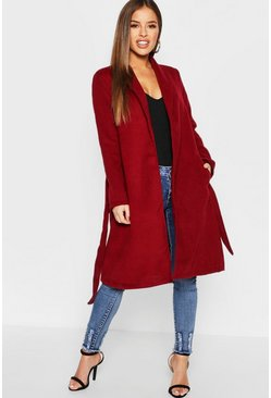 Womens Wine Petite Shawl Collar Belted Coat