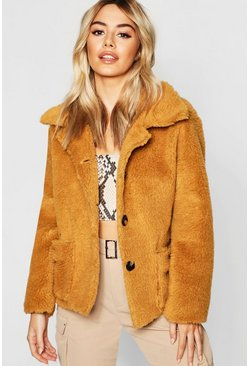 Womens Mustard Petite Button Front Teddy Coat