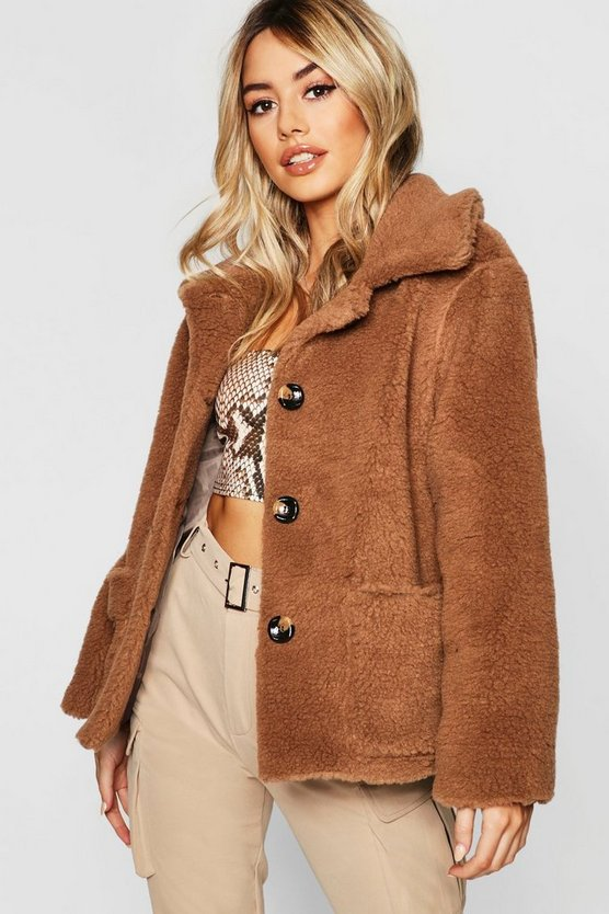 Petite Button Front Teddy Coat