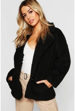 Womens Petite Button Front Teddy Coat