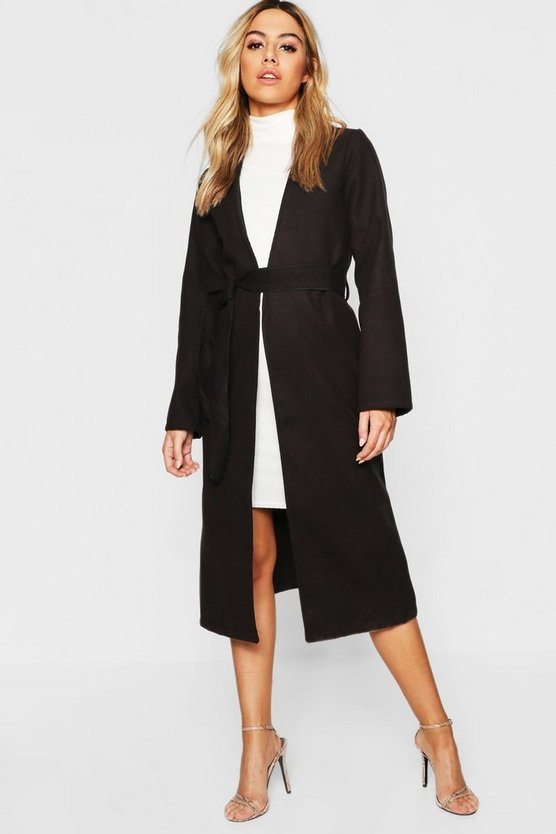 Petite Collarless Belted Wool Look Coat