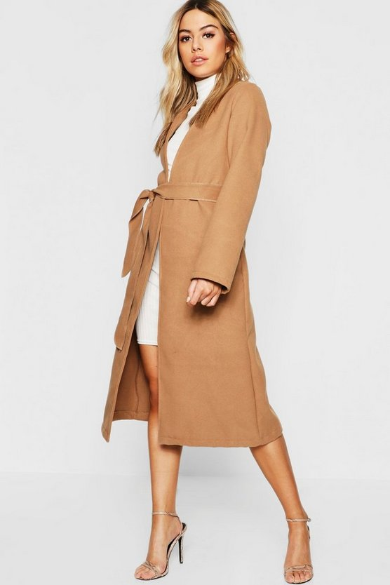 Womens Camel Petite Collarless Belted Wool Look Coat
