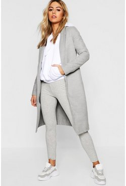 Womens Grey Petite Belted Collar Coat