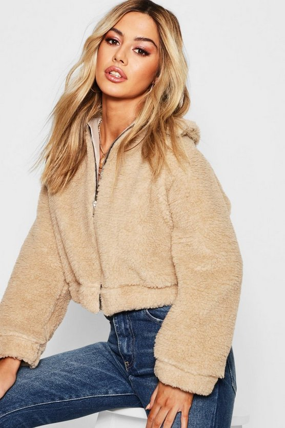 Petite Zip Through Teddy Faux Fur Bomber Jacket