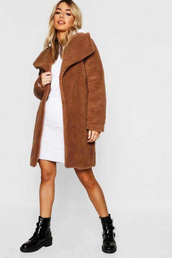 Manteau Teddy à Col Châle Petite by Boohoo