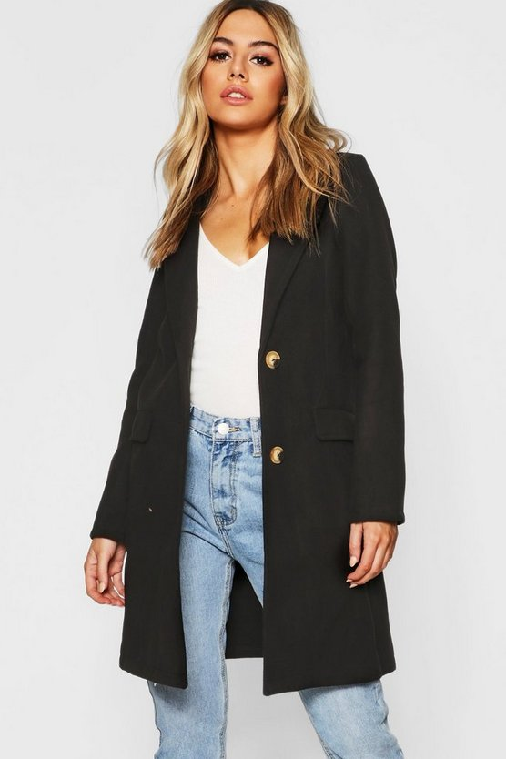 Petite Button Front Wool Coat