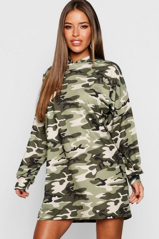 Petite Camo Hooded Dress