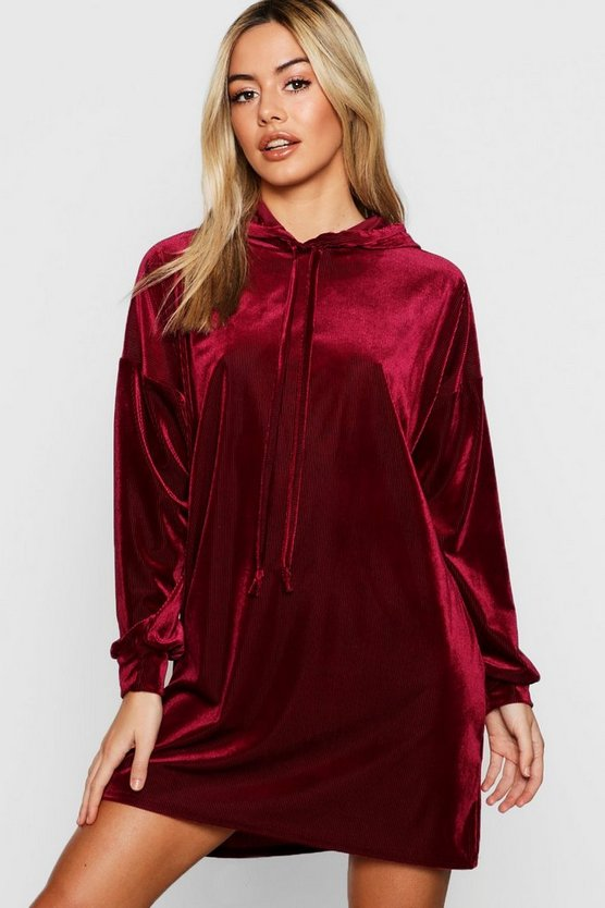 Berry Petite Velvet Ribbed Hooded Dress